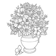Sunflower Coloring Page - Sunflower Vase
