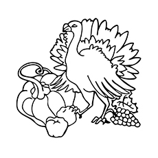 Coloring Page of Thanksgiving Turkey to Print