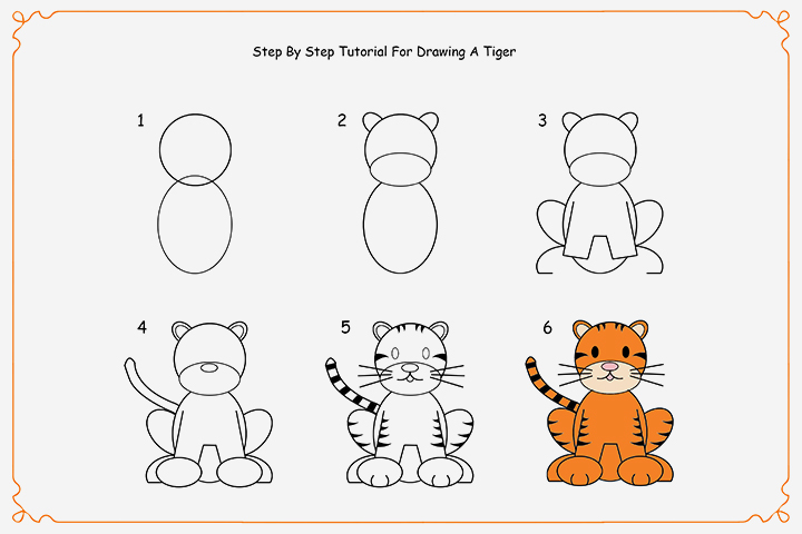 how to draw a tiger for kids