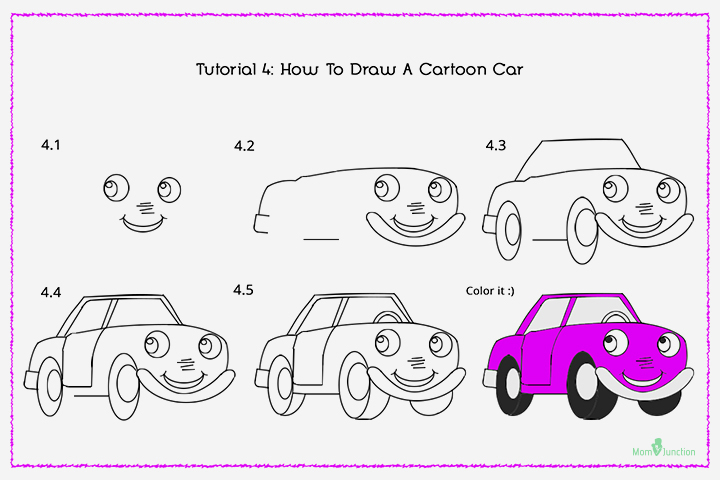 How To Draw A Cartoon Car With Pictures
