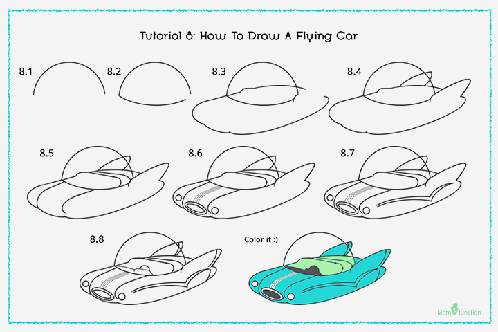 How To Draw A Flying Car With Pictures