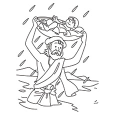 Lord Krishna Coloring Pages - Vasudev Taking Him To The Village