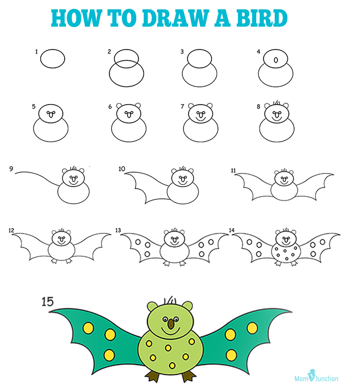 How to draw a bird for kids a step by step guide