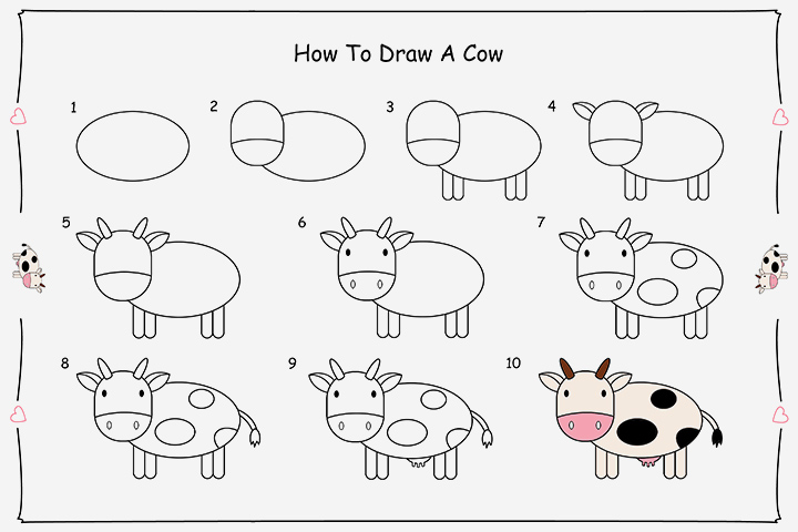 how to draw a cow step by step for kids - Easy Pictures For Kids To Draw