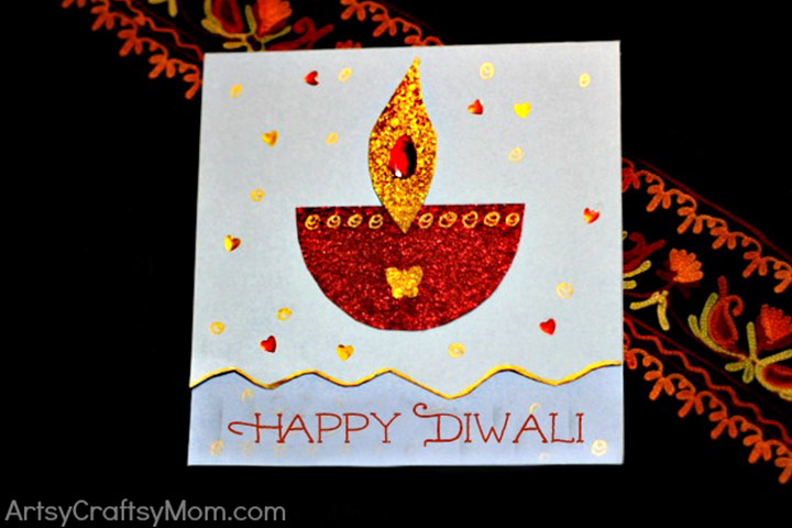 Diwali Greeting Card Making Ideas Part - 26: Diwali Greeting Cards For Kids - A Simple Diwali Card