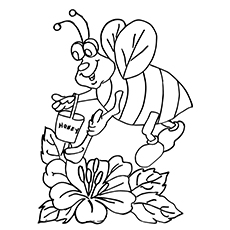 Bumblebee With Honey Pot Coloring Page