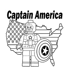 Printable Picture of Lego Movie Character Captain America to Color