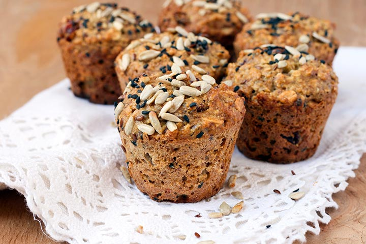 Healthy Snacks For Teens - Carrot And Sunflower Seed Muffins