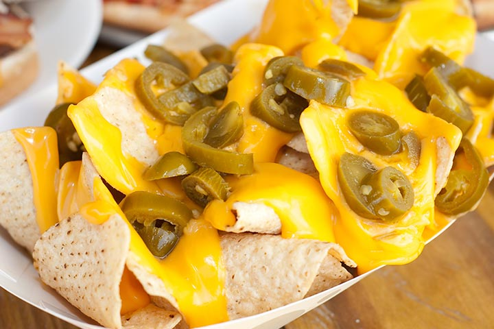 Snack Recipes For Kids - Cheesy Nachos With Jalapeno