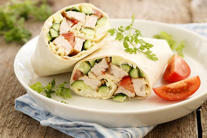 Dinner Recipes That Kids Can Make - Chicken And Cucumber Salad Wraps