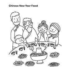 Chinese New Year Feast Pic to Color