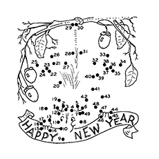 Connect The Dots to Complete the Picture of New Year to Color