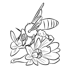 Cuckoo Bumblebee on Flower Printable to Color