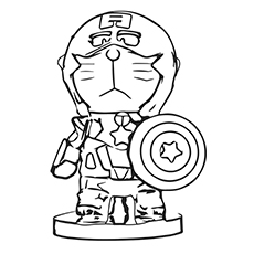 Captain America Coloring Pages - Doraemon As Captain America