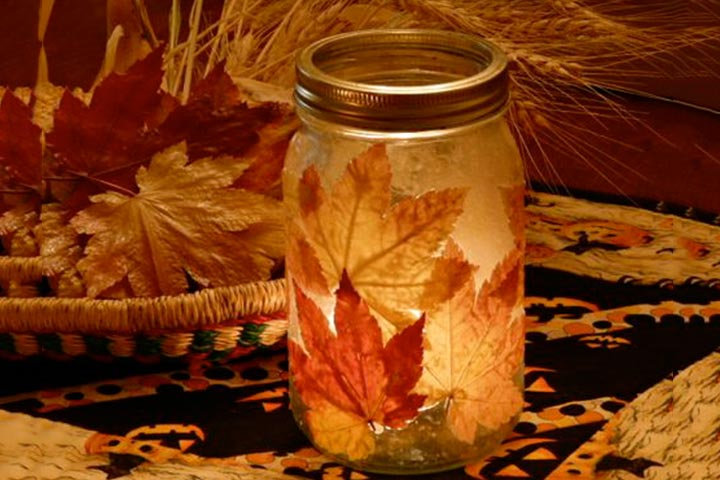 Leaf activities - Fall Leaf Candle