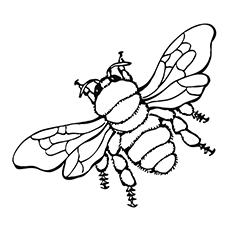 Flying Bumblebee Printable to Color