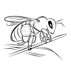 Franklin's Bumblebee Holding a Stick Coloring Page to Print