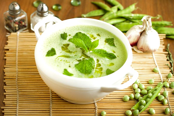 Green pea-corn soup