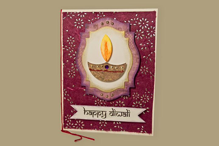 Handmade Diwali Card With A Diya Center Pictures