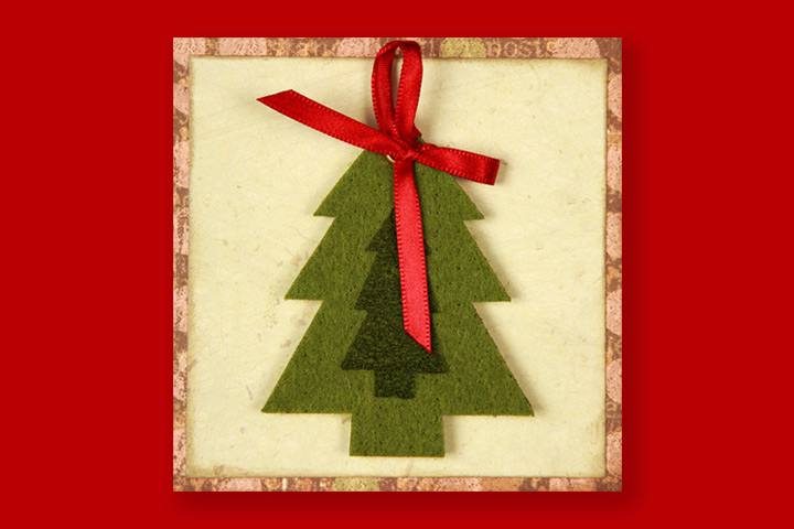 Christmas Crafts For Toddlers - Handmade Felt Tree Cards