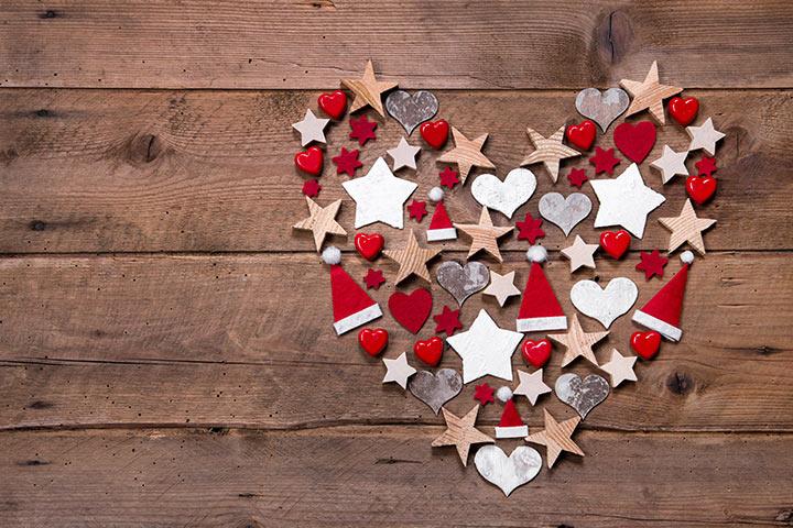 Christmas Card Ideas For Kids - Heart, Star, Santa Hat Cutouts For Card