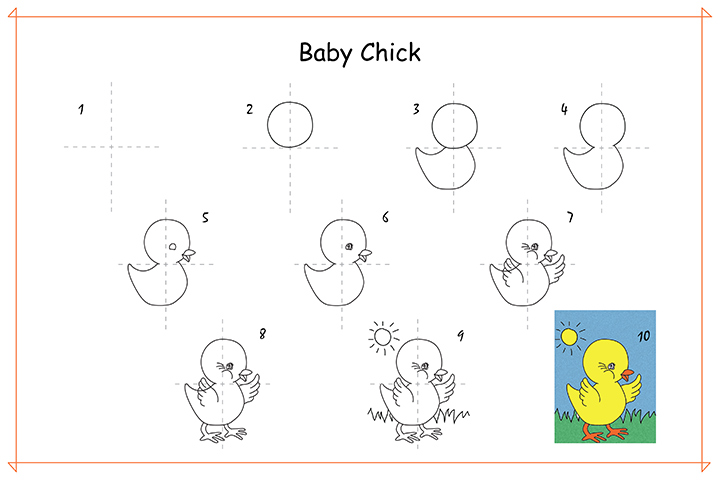 How To Draw Cartoons For Kids - A Baby Chick