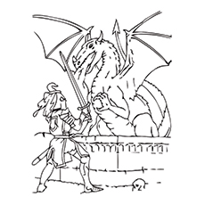 picture of knight fighting with a dragon to color