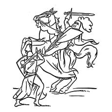 Knight Jousting And Princess Coloring Sheet