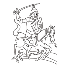 Coloring Sheet Of Knight Riding On A Horse