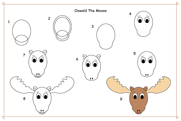 How To Draw Cartoons For Kids - Learn To Draw Oswald The Moose