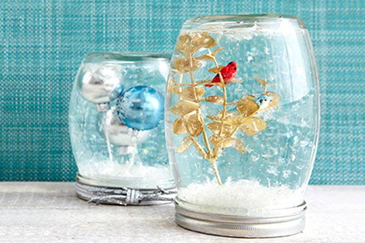 Waste Material Craft Ideas - Mason Jar Snow Globe