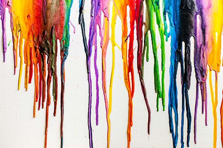 Canvas Painting Ideas For Kids - Melted Crayon Art On Canvas