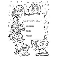 New Year's Party Invitation Card to Color Free