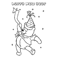 Pooh Wishing You Happy New Year to Color
