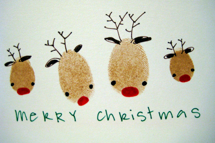 Christmas Crafts For Toddlers - Reindeer-Fingerprint