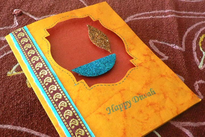 Diwali Greeting Cards For Kids - Shimmering Card