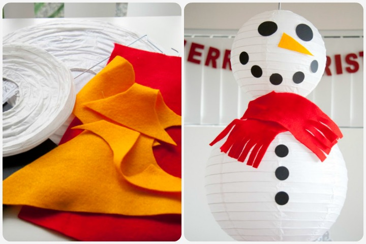 Christmas Crafts For Toddlers - Snowman With Paper Lantern