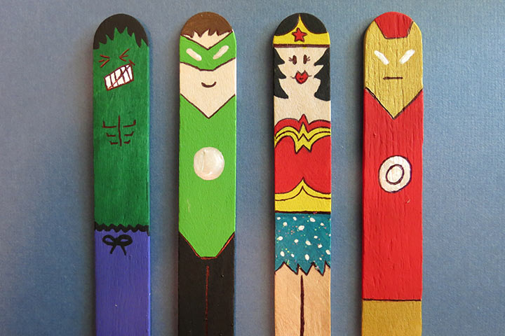 Craft Ideas For Kids With Waste Material Part - 17: Waste Material Craft Ideas - Superhero Bookmark