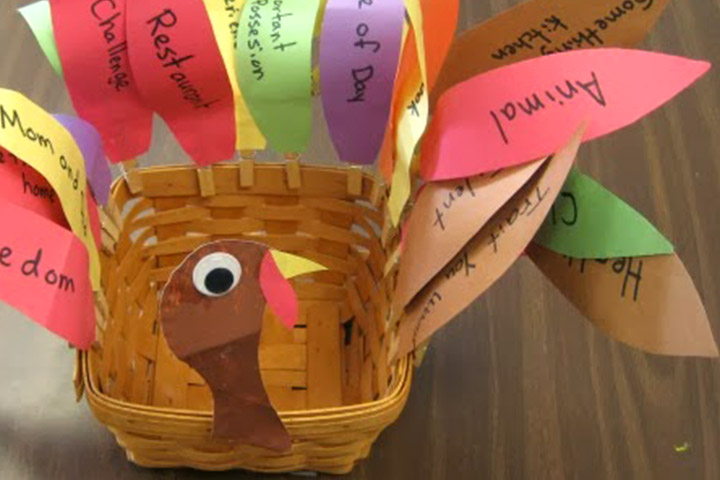 Thanksgiving Activities For Toddlers - Thank You Turkey Decorated Basket