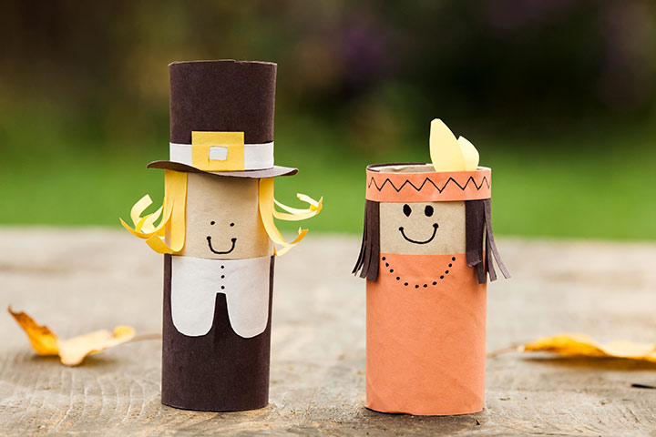 Thanksgiving Activities For Kids - Toilet Paper Pilgrims