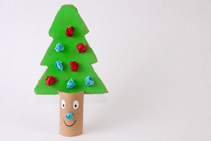 Christmas Crafts For Toddlers - Toilet Paper Roll Christmas Tree