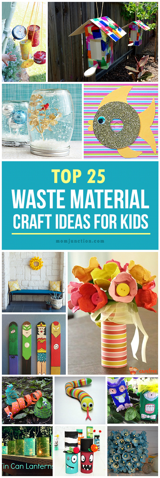 25 creative out of waste material crafts for kids for Waste materials at home