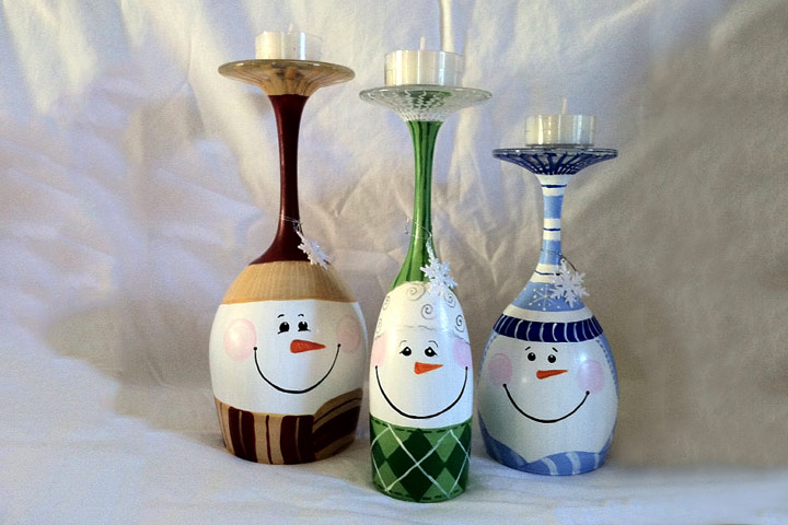 Christmas Crafts For Toddlers - Wine Glass Snowman Candle Stand