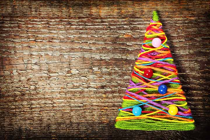 Christmas Crafts For Toddlers - Wool Yarn Christmas Tree