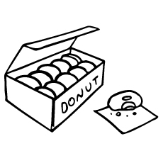Donut Coloring Page - A Box Of Donut