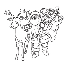 Coloring Pages Of Santa Claus All Set To Deliver Gifts