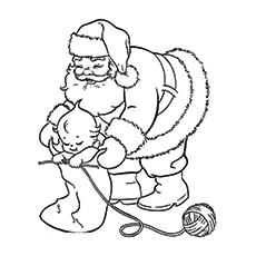 Baby Knitting Santas Hat to Color