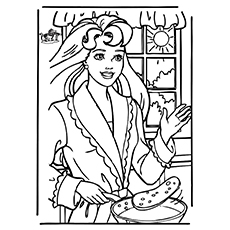 Coloring Pages of Barbie With Pancake
