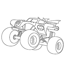 monster truck coloring pages batman monster truck - Monster Truck Coloring Pages Easy