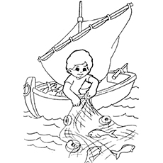 Child Catching Fish with Net Coloring Page